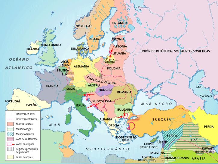 Europa tras los tratados de paz, 1919-20