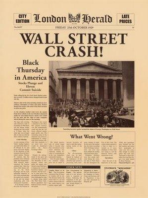 Portada de un períodico anunciando el crask de Wall Street