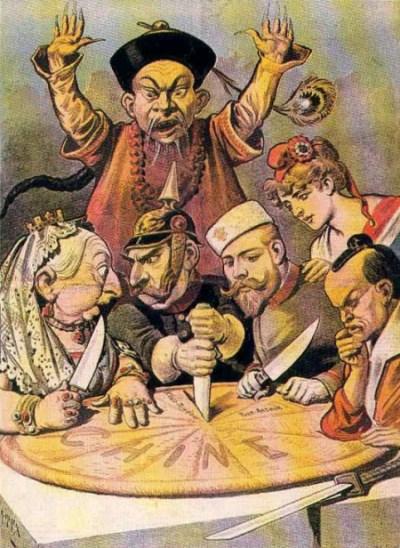 China: pastel de reyes y de emperadores. Caricatura publicada en Le Petit Journal, hacía 1885