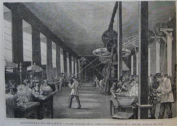 Industria madrileña. Taller principal de la fábrica plateria modelo de L. Espuñes. Ilustracion Española y Americana. 1885